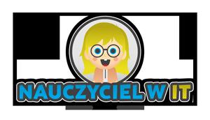 Nauczyciel w IT logo uśmiechniętej nauczycielki w okularach